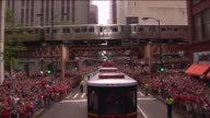 WGN View Of Blackhawks Stanley Cup Parade From Team Bus on June 18 2015 in Chicago Illinois