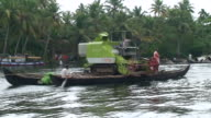 MS PAN View of Boat in Backwaters of Kerala / Kerala, India