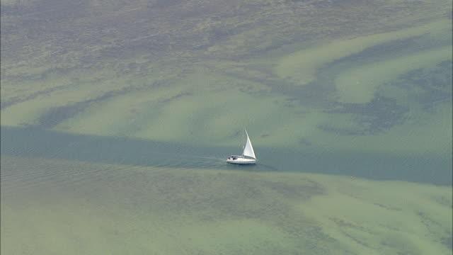 WS AERIAL View of boat moving in sea / RuegenGreifswaldLubmin, Mecklenburg-Vorpommern, Germany