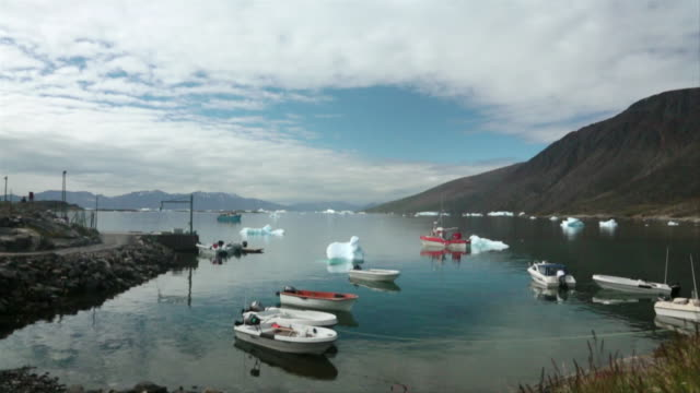 WS SLO MO View of boats dock in water / Ilulissat, Greenland