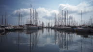 A view of boats in a marina masts without sails
