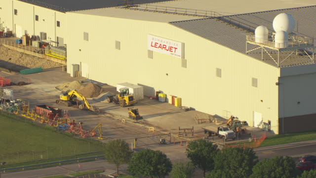 MS AERIAL View of Bombardier Learjet facility factory / Wichita, Kansas, United States