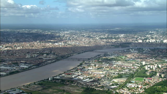 AERIAL, View of Bordeaux and Garonne River , Aquitaine, France