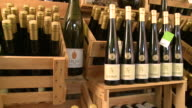 MS PAN View of bottles at brandy distillery / Fellerich, Rhineland-Palatinate, Germany