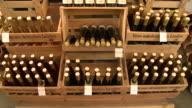 MS TU View of bottles at brandy distillery / Fellerich, Rhineland-Palatinate, Germany