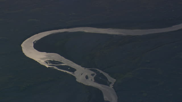 WS AERIAL View of Braided river at Skeidasandur / Iceland