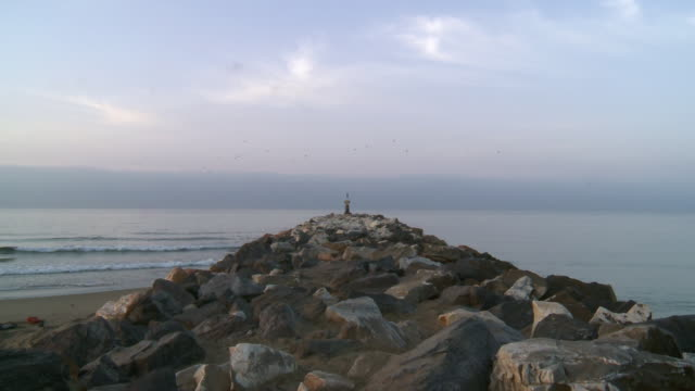 WS View of breakwater of Cabopino / Marbella, Andalusia, Spain
