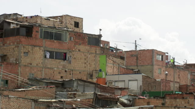 MS View of brick houses in the Ciudad Bolivar slum / Bogota, Colombia