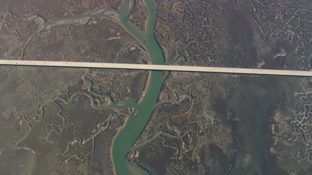 WS AERIAL View of bridge on lake at charleston city / South Carolina, United States