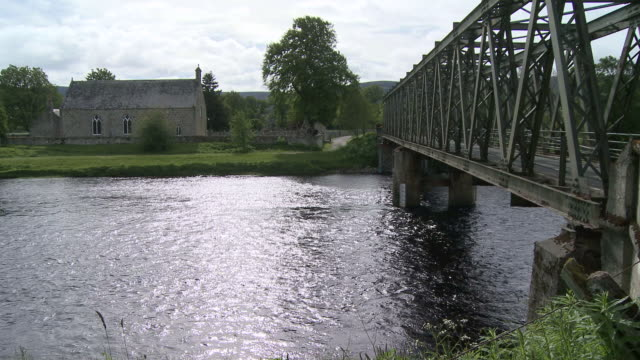 MS View of bridge on river / Cromdale, Speyside, Scotland