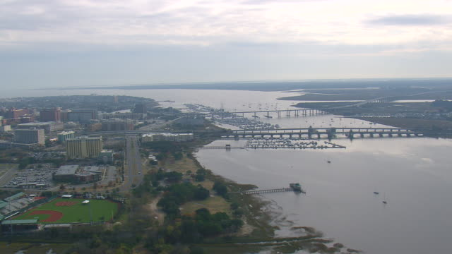 WS AERIAL View of bridge with marina at Charleston city / South Carolina, United States