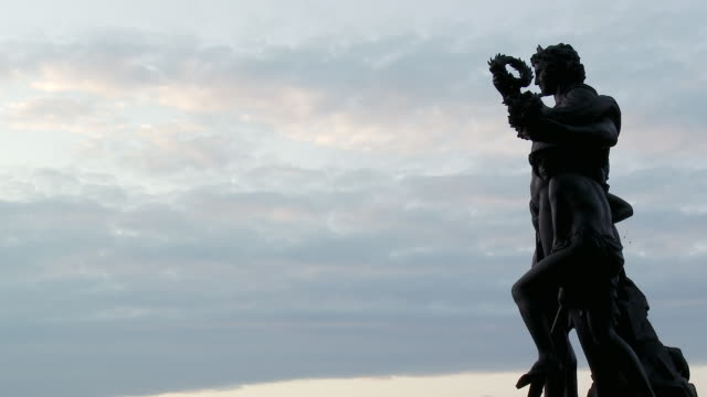 MS View of Bronze statue / Dresden, Saxony, Germany