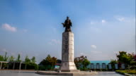 View of bronze statue of Gwanggaeto the Great(King-Broad Expander of Territory)