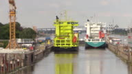 WS POV View of Brunsbuttel Locks of Kiel Canal, Brunsbuttel, Schleswig Holstein / Hamburg, Germany