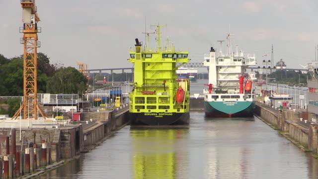 WS POV View of Brunsbuttel Locks of Kiel Canal, Brunsbuttel, Schleswig Holstein / Hamburg, Germany