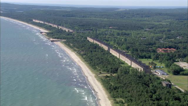 WS AERIAL View of building at beach / Ruegen, Mecklenburg-Vorpommern, Germany