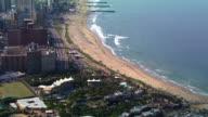 MS AERIAL ZO View of Buildings along Durban's shoreline / Durban, Kwazulu-Natal, South Africa