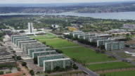 WS AERIAL View of buildings and river / Brasilia, Brazil