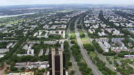 WS AERIAL View of buildings and street / Brasilia, Brazil
