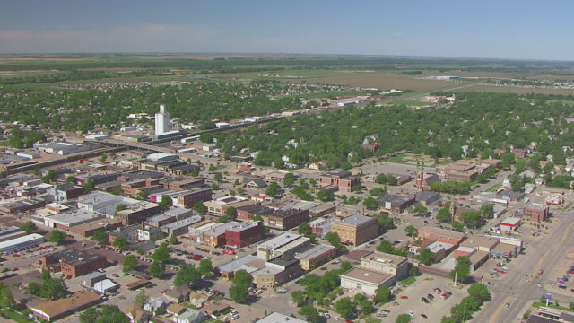 WS AERIAL TS View of Buildings and streets / Kearney, Nebraska, United States
