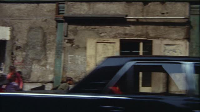 WS POV View of buildings in slum area  / New York City, New York, USA