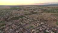 WS AERIAL View of buildings in suburbs / Santa Fe, New Mexico, United States