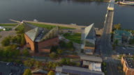 WS AERIAL View of buildings of Tennessee Aquarium complex on Tennessee River / Chattanooga, Tennessee, United States
