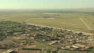 WS DS AERIAL View of buildings surrounding peterson air force base / Colorado Springs, Colorado, United States