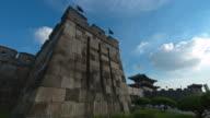 MS T/L View of Bukdongjukdae(for defense facility) at Janganmun in Suwon Hwaseong Castle (UNESCO Heritage) / Suwon, Gyeonggi-do, South Korea