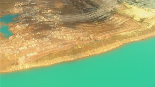 WS AERIAL ZI View of bulldozers working in mine / Darwin, Northern Territory, Australia