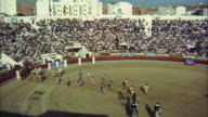 WS ZO View of bullfighters and picadors at opening ceremony