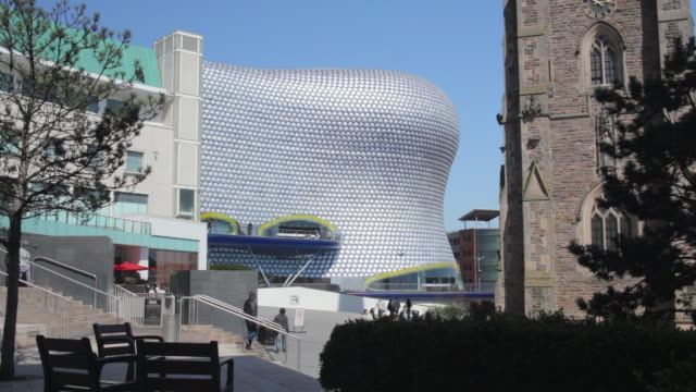 WS View of Bullring shopping centre, People moving down on steps / Birmingham, UK
