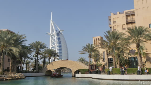 View of Burj Al Arab from Madinat Jumeirah, Dubai, United Arab Emirates, Middle East, Asia
