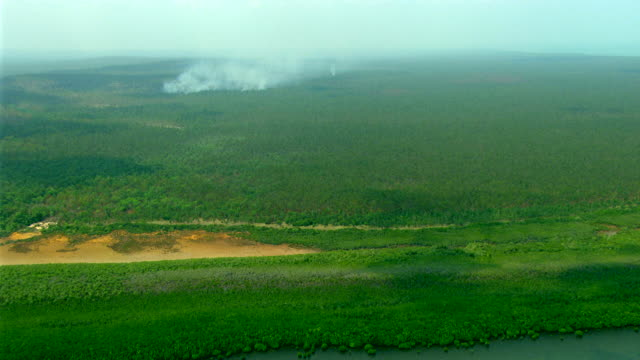 WS AERIAL ZI View of burning forest and smoke / Darwin, Northern Territory, Australia