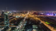 T/L WS HA View of Busy Overpass at Night / Beijing, China