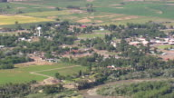 WS AERIAL View of Byron town / Wyoming, United States