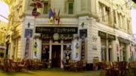 MS PAN View of Café shops  / Bucharest, Romania