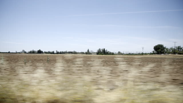 View of California farmland POV from moving vehicle