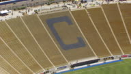 MS ZO AERIAL POV View of California Memorial Stadium / Berkeley, California, United States