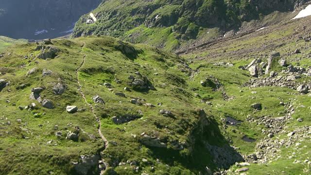WS AERIAL TS View of Campo tencia hut and piumogna valley / Piumogna Valley, Ticino, Switzerland