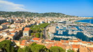 WS T/L View of Cannes waterfront and boat harbor / Cannes, Provence Alpes Cote d'Azur, France