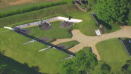 WS ZO AERIAL POV View of Cannon at Fort Ward / Alexandria, Virginia, United States