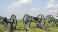 MS PAN View of cannons at antietam monument national battlefield famous civil war battleground memorial  / Antietam, Maryland, United States