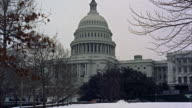 MS View of capitol building and snow on leafless trees