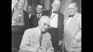 / view of Capitol building / inside Congress / President Roosevelt signs Social Security Act into law on August 14 1935 / President Harry Truman...
