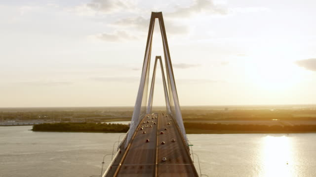 WS AERIAL POV View of car moving on Ravenel Bridge / Charleston, South Carolina, United States