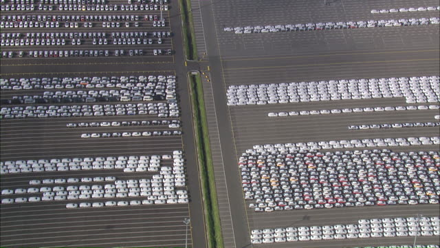 AERIAL POV View of car parking ground / Emden + Pilsum, Lower Saxony, Germany