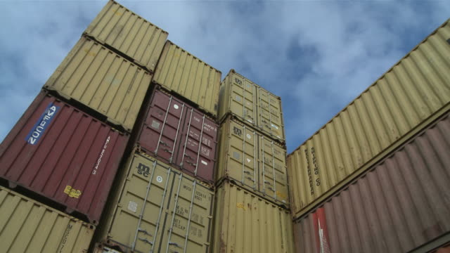 WS View of cargo container at terminal / Duisburg, North Rhine Westfalia, Germany