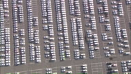 AERIAL WS View of carpark / Emden + Pilsum, Lower Saxony, Germany