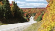 WS View of Cars running on Highway 60 Algonquin Park / Whitney Ontario, Ontario, Canada